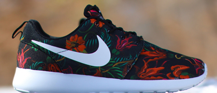 nike roshe run print total orange (smoky lotus)