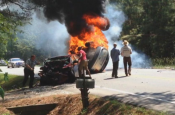 "Real Life ""Captain America"" on Video Saving Two from Burning Car Crash!"