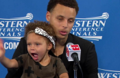 Stephen Curry's Daughter Steals the Postgame