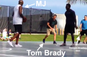 MVP Michael Jordan and Tom Brady Playing Basketball
